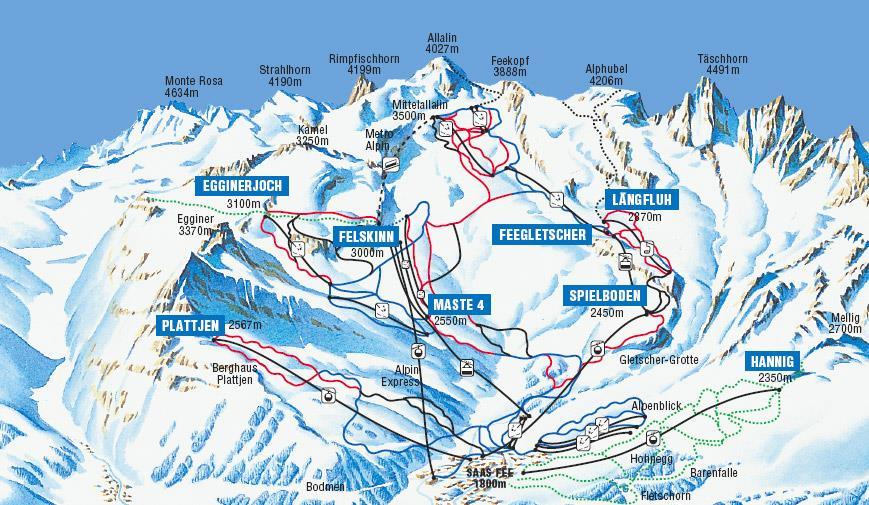 Saas Fee Saastal Ski Holidays piste map ski resort reviews