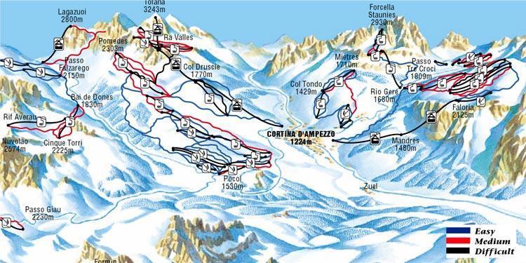 Cortina dAmpezzo Ski Holidays piste map ski resort reviews