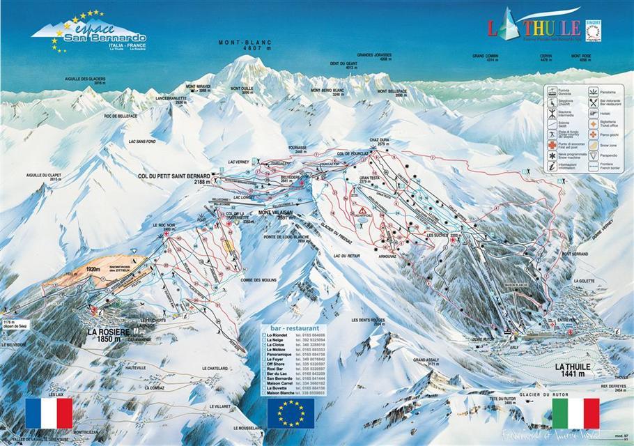 AostatalMonte RosaAlagna Ski Holidays piste map ski resort
